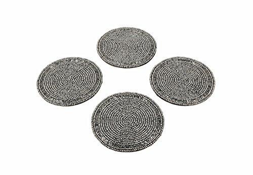 Shalinindia Edles Home Dekor Aus Indien Set Von 4 Glas Untersetzer Aus Silber-Perlen Durchmesser 10,16 cm