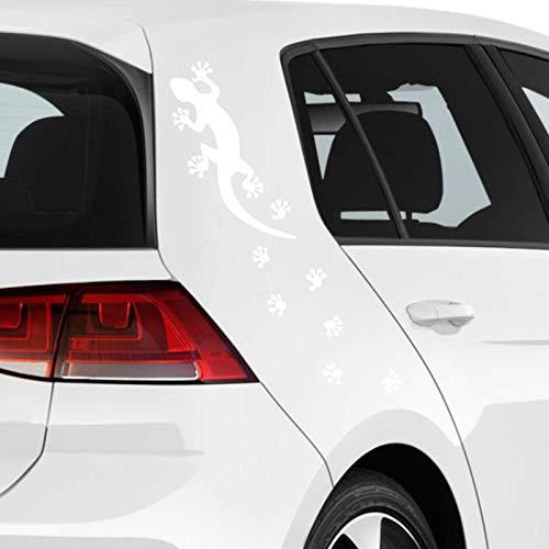 JINTORA Sticker - Autocollant - Jeu d'autocollants de Voiture Gekko Trace 2 pces. 40cm x 9cm Blanc - réglage Lunette arrière Voiture - Style de Voiture