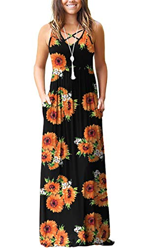 LILBETTER Women's Casual Loose Long Dress Sleeveless Floral Print Maxi Dresses with Pockets(Sun Flower Black,Large)