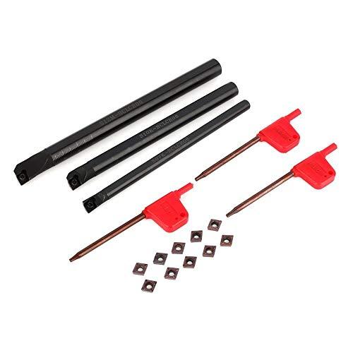 Yosoo bohrstange innendrehmeißel, CCMT0602 Drehwerkzeughalter-Set mit SCLCR 7x125mm 10x125mm 12x150mm Bohrstangen und 10 Einsötzen