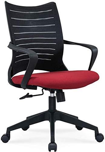 Silla de computadora ergonómica Home, Casa de Malla de la Cintura for el hogar Silla de Escritorio de Malla Trasera, Rojo, Negro, Color Nombre: Rojo (Color : Red)