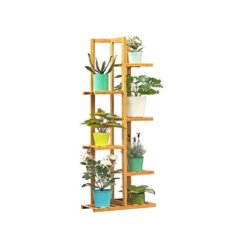 Support de Stockage étagère à Fleurs étagère à Chaussures étagères à Fleurs Affichage échelle Stand de Fleurs antiseptique Bambou Rack intérieur et extérieur 6 Taille de Plancher 45x22x125 cm
