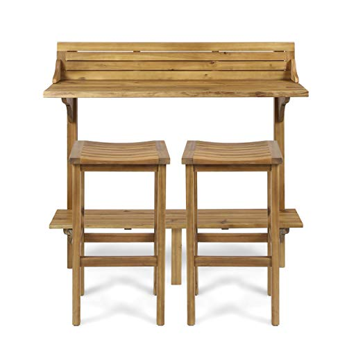 Christopher Knight Home Caribbean Outdoor Acacia Wood Balcony Bar Set, 3-Pcs Set, Natural Stained