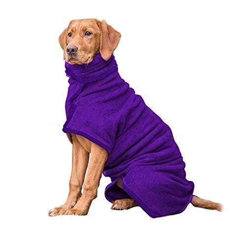 PETTOM Hundebademantel Mikrofaser Badetuch Hund Bademantel für Kleine Mittlere und Große Hunde (S,M,L,XL) (XL, Lila-Upgrade)
