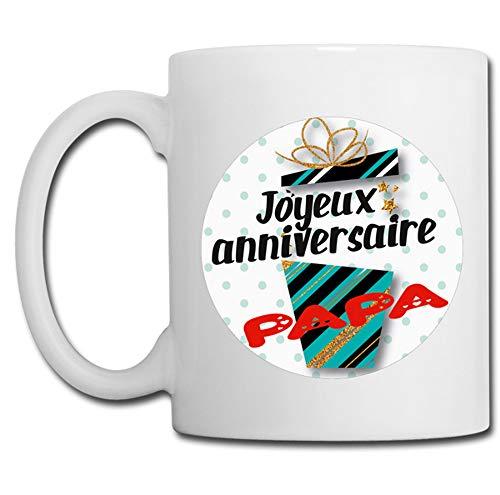 Linyatingoshop - Tazza con scritta 'Joyeux Anniversaire' in Francia, idea regalo per compleanno del papà