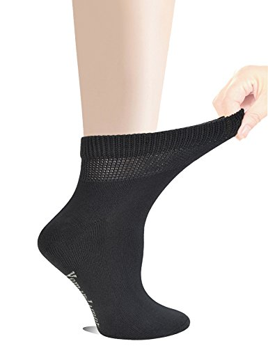 Yomandamor Women's 5 Pairs Non-Binding Cotton Ankle Diabetic/Dress Socks with Seamless Toe and Cushion Sole