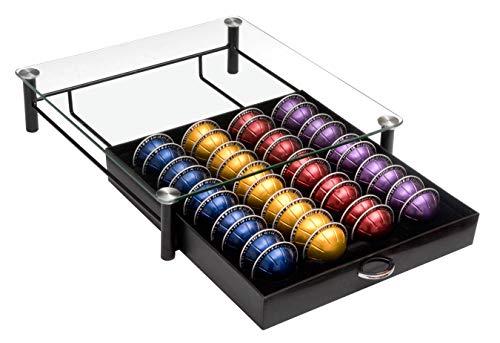 Amtido Nespresso Vertuoline capsule & Dolce Gusto cassetto con cristallo vetro temperato – Beautiful supporto per display e organizzazione