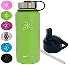 Smart Flask 32oz Stainless Steel, Wide Mouth, Vacuum Insulated, Double Walled Water Bottle, Includes Leakproof Travel Lid and Convenient Straw Cap