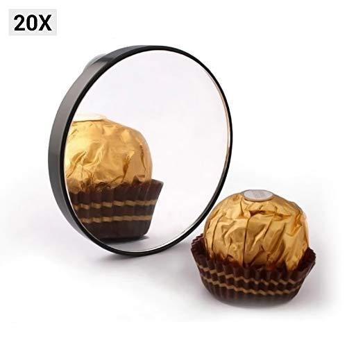LoveSelfy Espejo de Aumento 20x, Portátil Pequeño Redondo Magnifying Mano Pared Baño Mirror con Ventosa, Flexible Espejo de Vanidad de Bolsillo para Maquillaje, Cosméticos, Afeitado, Viajes y Más