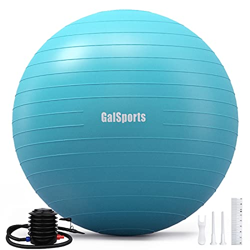 GalSports Exercise Ball (45cm-75cm), Anti-Burst Yoga Ball Chair with Quick Pump, Stability Fitness Ball for Birthing & Core Strength Training & Physical Therapy (Turkis, L (58-65cm))