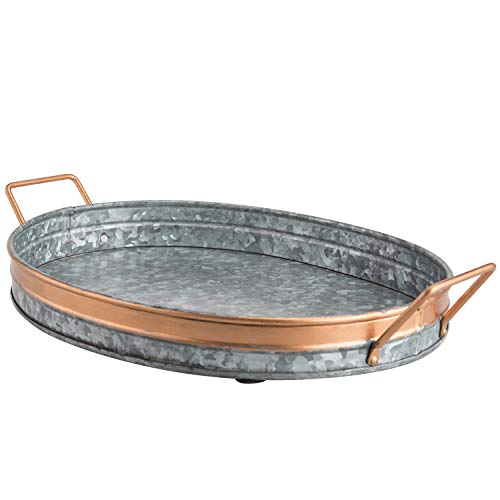 MyGift 16-Inch Rustic Silver Galvanized Metal Oval Serving Tray with Copper Tone Rim Handles