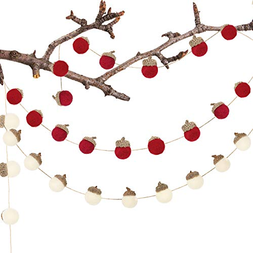 Tatuo 2 Pieces Felted Acorn Garland Red and White Decor Acorns on Rope Felted Acorn Ornaments for Thanksgiving Fall Christmas Tree Mantel Wall Nursery Party Home Vintage Decoration