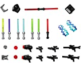 LEGO Star Wars Accessory and Weapons Pack - 8 Lightsabers, 8 Blasters, 2 Display Stands and More