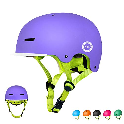 XJD Toddler Helmet Kids Bike Helmet CPSC Certified Adjustable Bicycle Helmet Kids Cycling Helmet Safety Helmet Child Skateboard Helmet Inline Skating Scooter 8-13 Years Old Helmet (Purple, S)