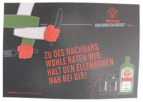Jägermeister - Platzdeckchen aus Papier 38,5 x 26,8 cm - Zu des Nachbars wohle raten wir, Halt den Ellenbogen nah bei Dir