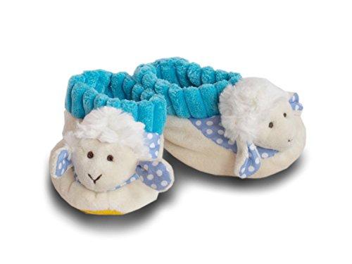 Warme Babyschuhe Jungen Plüsch Schaf in Blau 0 bis 10 Monate