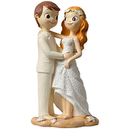 Figuras boda tarta playa GRABADAS novios muñecos descalzos PERSONALIZADA