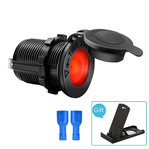 N\A Auto Feuerzeug Ladegerät Wasserdicht Für Ladegerät 120W Auto Zigarettenanzünder Sockel Universal 12-24V Motorradwagen Universal (Color Name : Red led Light)