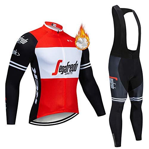 Abbigliamento Ciclismo da Uomo,Maglia Manica Lunga+Pantaloni Lunghi,Cuscino Gel 3D,Moda Set Completo,Abbigliamento Sportivo per Bicicletta,Ciclismo Ciclismo Jerseys per Uomo