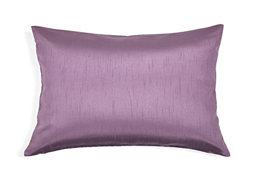 Aiking Home Solid Faux Silk Decorative Pillow Cover, Zipper Closure, 12 by 18 Inches, Lavender