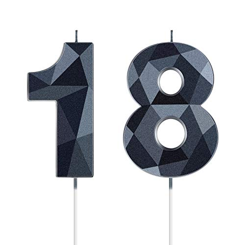 18th Birthday Candles, 3D Diamond Shape Number 18 Candles Happy Birthday Cake Topper Numeral Candles for Birthday Party Wedding Decoration Reunions Theme Party Anniversary, Black, 2 Inch