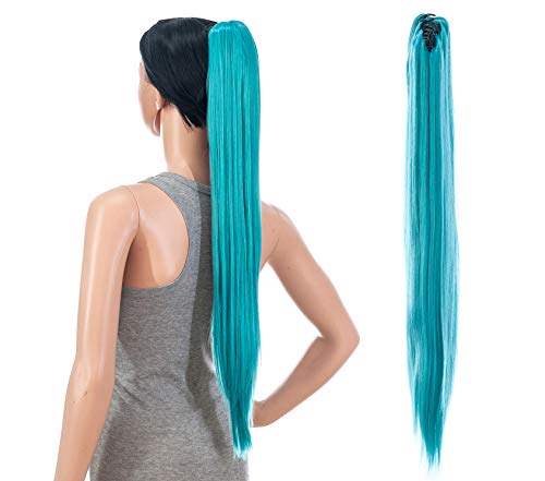 SWACC 28-Inch Long Straight Claw Clip Ponytail Extensions Synthetic Hair Extensions Ponytail Jaw Clip Hair Pieces for Women (Teal Blue)