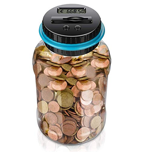 Digitale Spardose Mit Zähler, Transparente Spardose Groß, Automatische Sparschwein Mit LCD, 1,8 l Großer Münzzähler