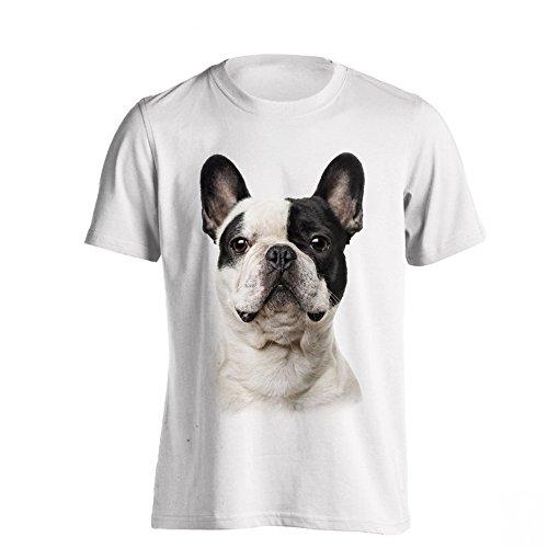 The T-Shirt Factory - Camiseta Modelo Bulldog Francés para Hombre (S) (Blanco)