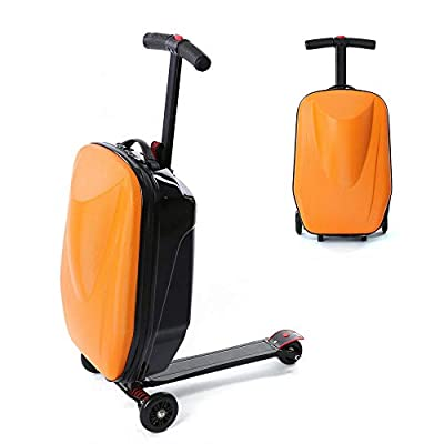 20 Inch Travel Case Scooter Scooter Trolley Hand Luggage Wheeled Case Scooter Suitcase Travel Case Hard Case Suitcase Roller Luggage (Orange)