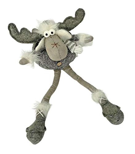 Homes on Trend Festive Sitting Reindeer With Scarf Ornament Christmas Decorations Woodland Fabric Grey- Reindeer with Dangly Legs