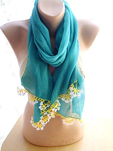 Green Crinkle Scarf Long Online limited product Christmas Shawl Spring new work Women Accessories