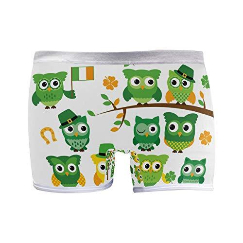 PUXUQU Damen Boxershorts Panties St. Patrick's Day Eule Unterwäsche Unterhosen Pants