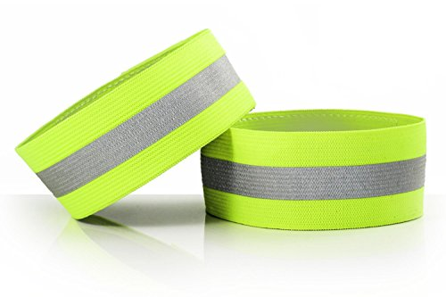 CSYSX (Pack of 2) High Visibility Reflective Bands Wristbands for Cycling Running Arm Wrist Ankle Bands Leg Straps and as Bike Pants Cuff Clip