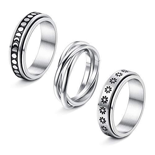 Jstyle 3Pcs Stainless Steel Fidget Band Rings for Women Spinner Rings Triple Interlocked Rolling Flower Moon Ring Celtic Stress Relieving Wedding Promise Rings Set