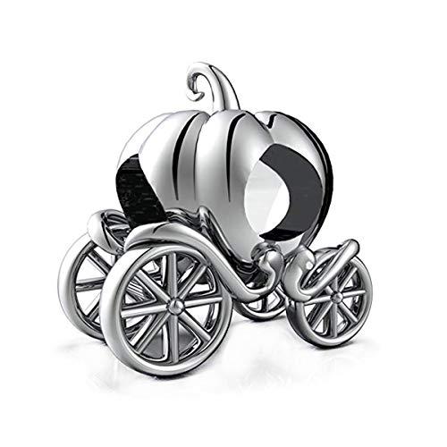 GW Charms Abalorio de Plata de Ley 925 con Forma de carroza de Calabaza para Pulsera Pandora