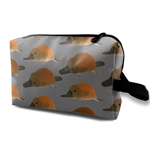 Lawenp Lindo patrón de bebé ornitorrinco, bolsa de recepción de maquillaje portátil, bolsa de cosméticos de mano, bolsa de maquillaje, kit de costura, bolsa de medicina