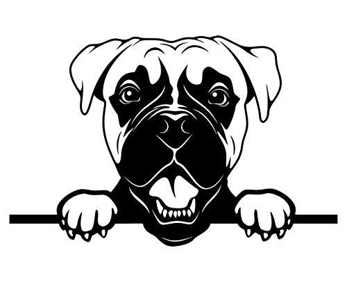BlingelingShirts Pegatina para coche, diseño de perro bóxer, también para pared, ventana, ordenador portátil, color negro