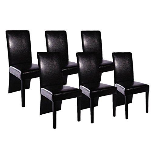 Anself 6er Set Esszimmerstuhl Stuhlgruppe Essstuhl Hochlehner Stuhl aus Kunstleder 2 Farbe Optional
