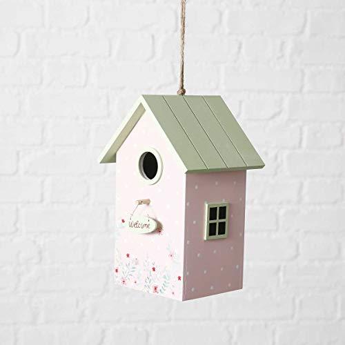 Objektkult Vogelhäuschen Antonia rosa mit grünem Dach (Maße 22 x 15,5 x 13 cm) in Pastell-Tönen, Vogelhaus aus Holz mit Anflugstab, auch als Nistkasten geeignet für kleinere Vögel!
