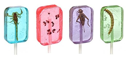 Insect Sucker Lollipop Bundle  Pack of 4  Scorpion Ants Cricket And Worm  Flavors Vary  With Licensed Sticker
