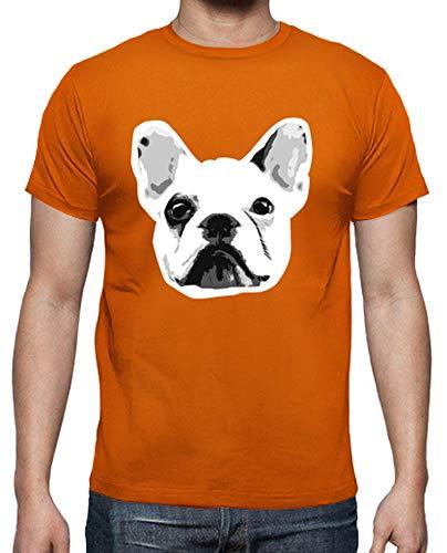 latostadora - Camiseta Bulldog Frances para Hombre Naranja L