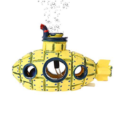 Amakunft Aquarium-Dekoration mit Luftstein, gelbes Kunstharz, U-Boot-Ornament mit versteckter Höhle