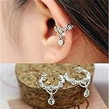 BeatlGem 1par Lindo Sin Perforado Carpeta de Hueso Oído Moda Punky Ear Cuff Wrap Rhinestone Cartílago Clip en Pendiente Non Piercing Jewelry