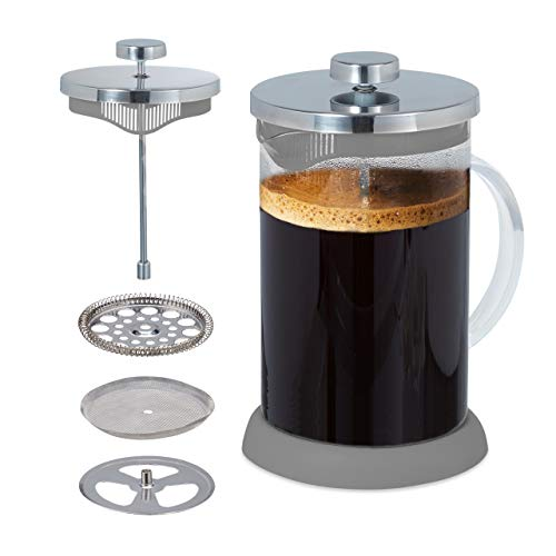 Relaxdays Caffettiera Pessofiltro, Teiera, Infusiera in Vetro, Filtro in Acciaio Inox, 800 ml, Caffè & Tè, Grigio
