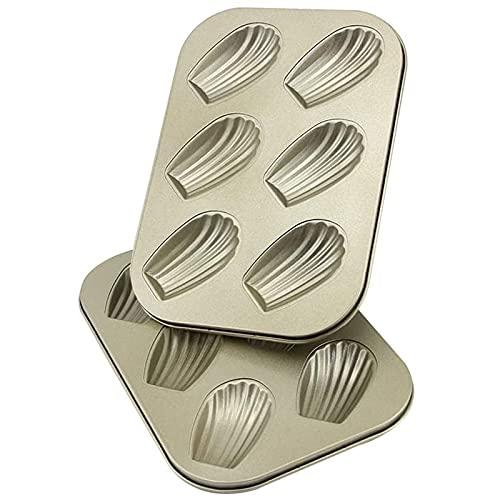 AOGVNA 6-Cup 2 Pack Madeleine Pan Nonstick Madeleine Pans for Baking Sponge Cake Shells Heavy Tinned Steel(Golden)