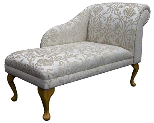 "45"" Chaise Longue - Chair Seat - Premium Woburn Medallion Beige Fabric - Right Facing With Queen Anne or Straight Tapered Legs"