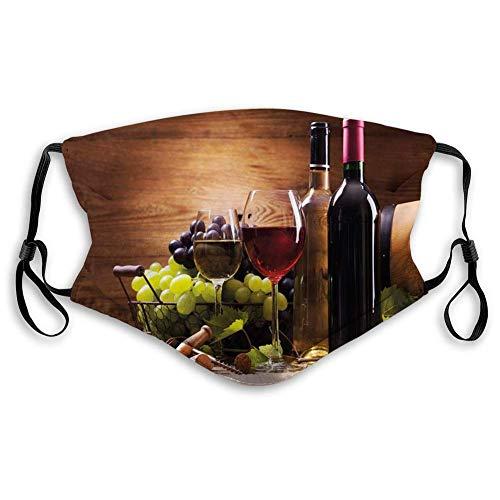 AOTISO Comfortabel bedrukt masker, wijn, glazen rode en witte wijn geserveerd met druiven Franse gastronomische proeverij, bruin robijnrood lichtgroen
