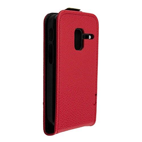 caseroxx Flip Cover y Protector de Pantalla para Alcatel 2008G, Set (Flip Cover en Rojo)