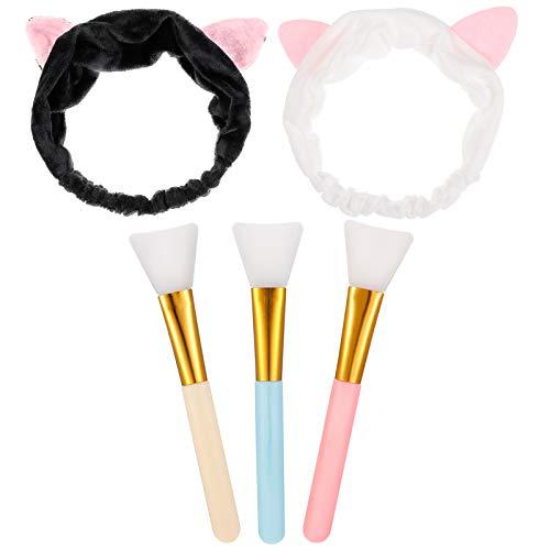 AKlamater Maskenpinsel Silikon mit Haarbänd Haarloser Gesichtsmask Pinsel Set,Kosmetik Make-up Gesicht Bürste für Gesichtsmasken,Augenmasken
