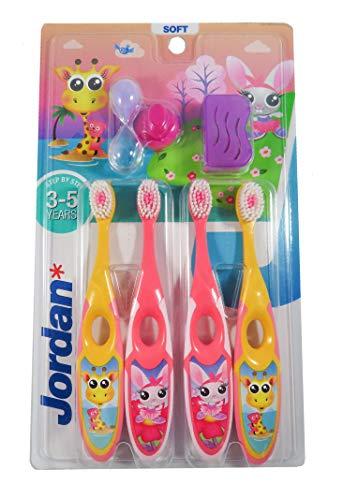 Jordan ® | Step 2 Zahnbürste Kinder | Kinder zahnbürste für 3-5 Jahre | Weiche Borsten, doppelter ergonomischer Griff & BPA-frei | Rosa und Gelbe Farbe | Pack 4 Einheiten